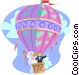 Newlywed couple in hot air balloon Vector Clipart illustration