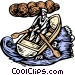 Boat woodcut style Vector Clipart picture