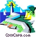 lighthouse and seashore scene Vector Clip Art picture