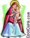 Virgin Mother with Child Vector Clipart illustration