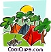 tents in park with campfire Vector Clip Art image