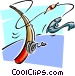 fishing rod landing fish Vector Clipart picture