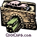 automobile and train Vector Clipart graphic