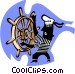 steering a ship/navigation Vector Clip Art picture