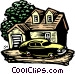 Woodcut house and car Vector Clip Art picture
