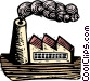 Woodcut factory Vector Clipart image