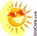 Smiling sun with sunglasses Vector Clipart graphic