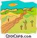 Road stretching through countryside Vector Clipart picture