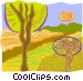 Trees with paths Vector Clipart graphic
