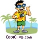 Tourist with camera Vector Clipart illustration