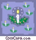candles with holly Vector Clipart graphic