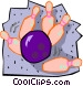 Bowling ball striking pins Vector Clipart graphic