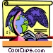 Education geography, globe and map Vector Clipart illustration