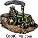 Woodcut tractor Vector Clipart image