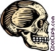 woodcut skull Vector Clip Art graphic