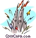 Castle with fireworks Vector Clip Art graphic