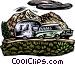 Car pulling camper Vector Clip Art image
