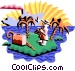 tourist on island Vector Clipart picture