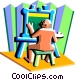 Painter with easel and canvass Vector Clipart image
