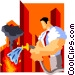 businessman putting out fires Vector Clipart graphic