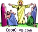 Jesus surrounded by awe-struck people Vector Clipart image