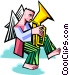 angel playing a tuba Vector Clip Art picture