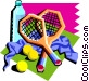 tennis rackets with water Vector Clip Art image