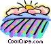 Rain clouds with sun in background Vector Clipart picture