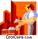 construction worker laying Vector Clip Art image