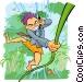 businessman in natural jungle Vector Clip Art image