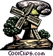 woodcut windmill Vector Clipart graphic