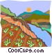 stream by farm leading to Vector Clip Art image