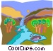 waterfall leading to stream Vector Clip Art picture