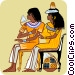 two seated Egyptian women Vector Clip Art graphic