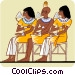 Two Egyptian women, one man, seated Vector Clip Art graphic