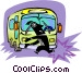 person avoiding being struck Vector Clipart picture