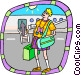 tourist at airport Vector Clipart picture