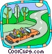 Family trip in car Vector Clipart picture