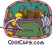 Couple playing pool Vector Clipart illustration