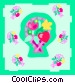 flowers in baskets Vector Clip Art graphic