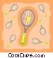 Tennis rackets with balls Vector Clipart illustration