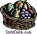 Woodcut basket of fruit Vector Clipart picture
