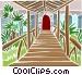 bridge to doorway Vector Clipart illustration