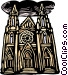 woodcut European architecture Vector Clip Art image
