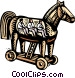 business /woodcut Trojan horse Vector Clipart graphic