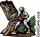 Logger cutting down tree Vector Clipart picture