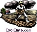Woodcut farming Vector Clipart graphic