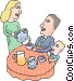 Father having breakfast with the family Vector Clipart illustration