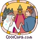 Marriage couple going down the aisle Vector Clip Art picture