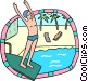preparing to dive into pool Vector Clipart image